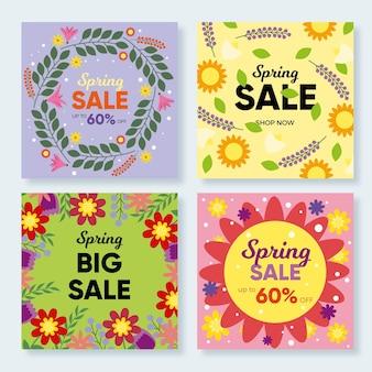 Frühlingsverkauf instagram posts pack