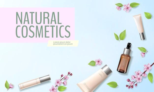 Frühlingsverkauf kirschblüten organische kosmetik anzeigenvorlage. hautpflege essenz rosa frühling promo bieten blume