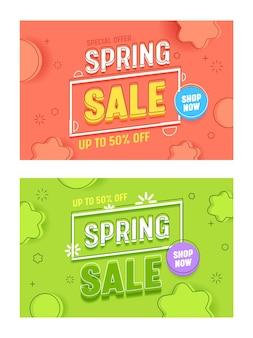 Frühlingsverkauf korallengrün horizontal banner template set