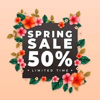 Frühlingsverkauf mit angeboten und blumen