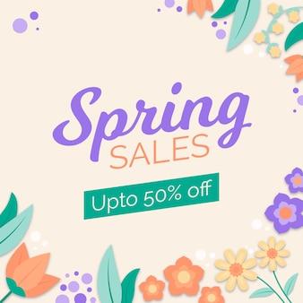 Frühlingsverkauf mit blumen im flachen design