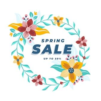 Frühlingsverkauf mit buntem blumenrahmen