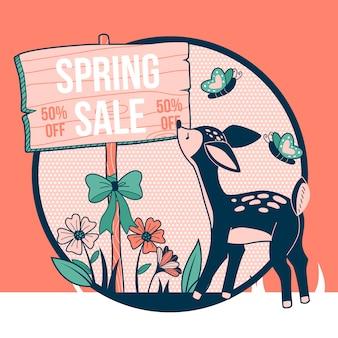 Frühlingsverkauf mit hirschen und schmetterlingen