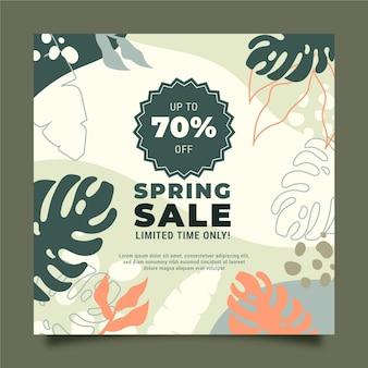 Frühlingsverkauf quadratische flyer vorlage