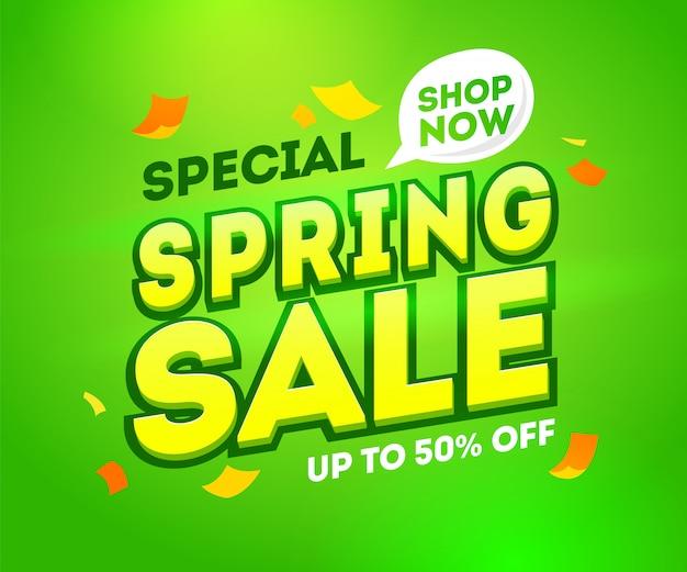Frühlingsverkauf, saisonausverkauf banner vorlage. saisonale rabatte, sonderangebot, fünfzig prozent rabatt. jetzt in der sprechblase einkaufen.