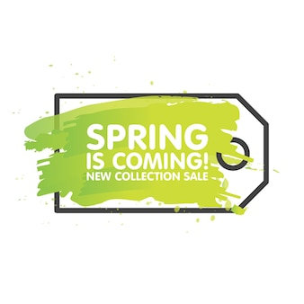 Frühlingsverkauf-tag-konzept in gemaltem bürstenhintergrund. saisonale banner-etikettenvorlage. vektor-illustration.