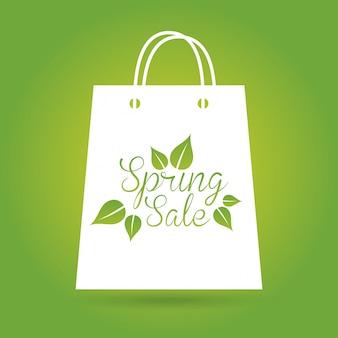 Frühlingsverkauf über grüner hintergrundvektorillustration