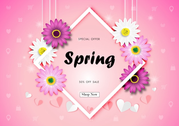Frühlingsverkauf weg vom hintergrund mit buntem daisy flower blossom design vector