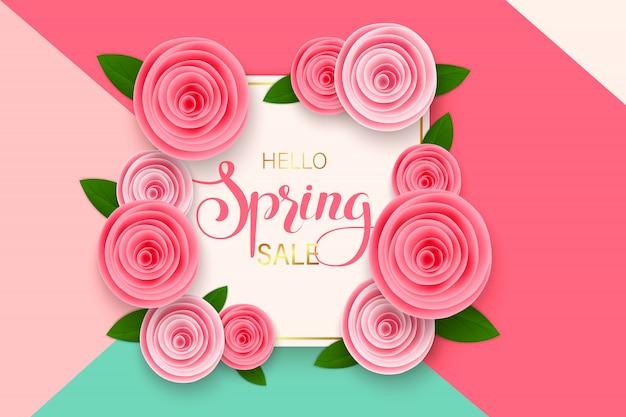Frühlingsverkaufs-fahnenschablone mit papierblume auf buntem. illustration