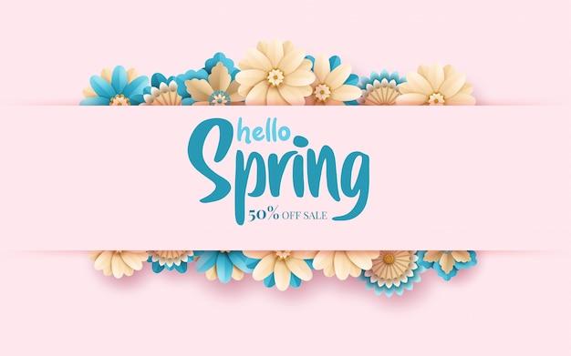 Frühlingsverkaufs-fahnenschablone mit papierschnittrahmen