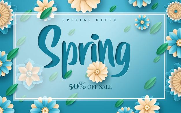 Frühlingsverkaufs-fliegerschablone mit papierschnittblumen und blättern mit rahmen