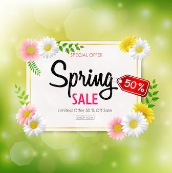 Frühlingsverkaufs-hintergrundfahne mit schöner bunter blume