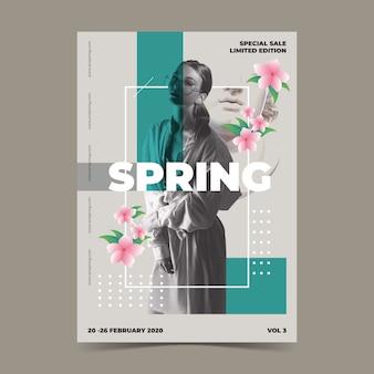 Frühlingsverkaufs-plakatschablone auf grauem hintergrund