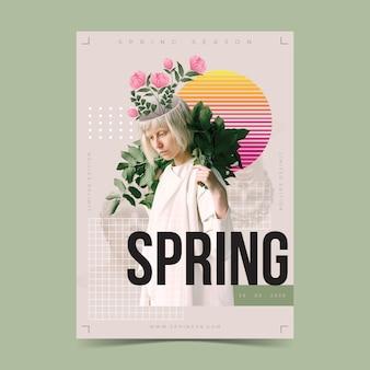 Frühlingsverkaufs-plakatschablone auf hellgrünem hintergrund