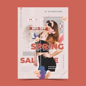 Frühlingsverkaufs-plakatschablone auf rotem hintergrund