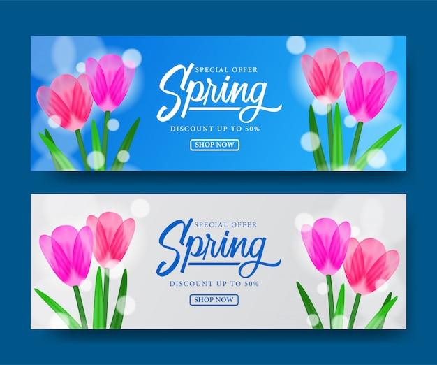 Frühlingsverkaufsangebotschablone mit tulpenblüte