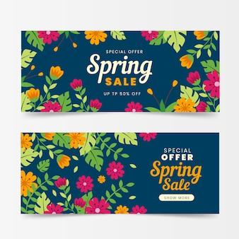Frühlingsverkaufsbanner im flachen design