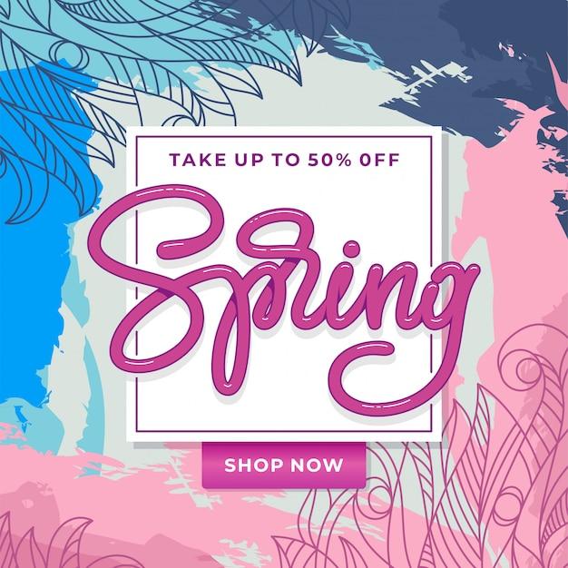 Frühlingsverkaufsbanner mit handgezeichnetem blumenmuster. vorlage für banner, karte, flyer, poster. handgemachte typografie. illustration.