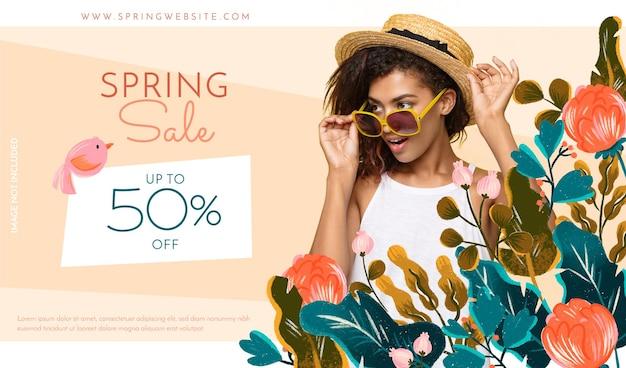 Frühlingsverkaufsfahne mit fotohand gezeichneten blumen