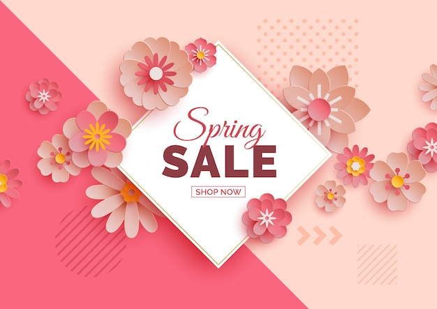Frühlingsverkaufsfahne mit papierblumen