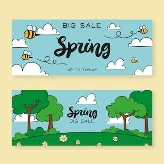 Frühlingsverkaufsfahnen in der hand gezeichnet