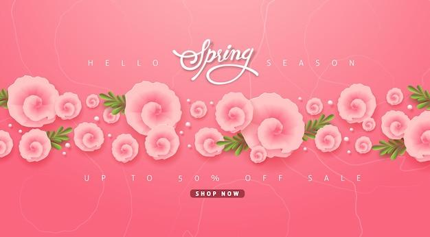 Frühlingsverkaufsfahnenhintergrund mit blume.