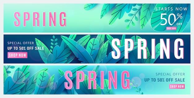 Frühlingsverkaufshintergrund. frühlingsrabatt et mit hellgrünen blauen fantasieblättern