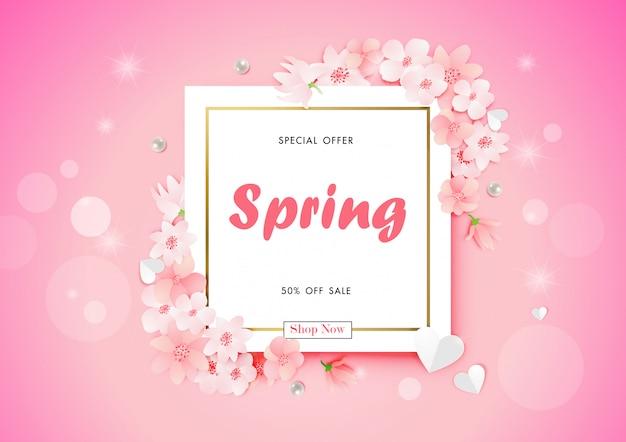 Frühlingsverkaufshintergrund mit kirschblüten-blumenvektor