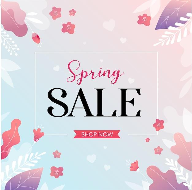 Frühlingsverkaufshintergrund mit schönen bunten blumen. vektorillustration.