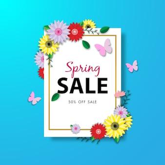 Frühlingsverkaufshintergrund mit schöner blume
