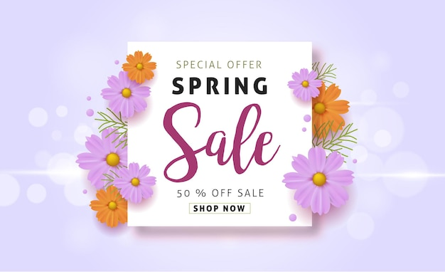 Frühlingsverkaufshintergrund mit schöner bunter blume.