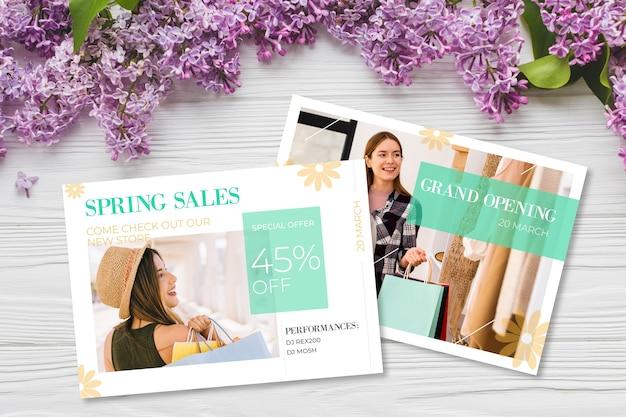 Frühlingsverkaufskonzept mit blumen