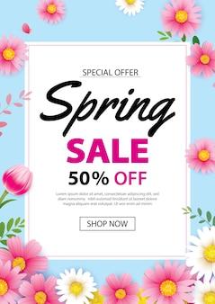 Frühlingsverkaufsplakat mit blühenden blumen