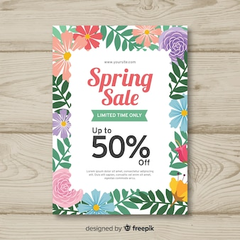 Frühlingsverkaufsplakat mit blumenrahmen