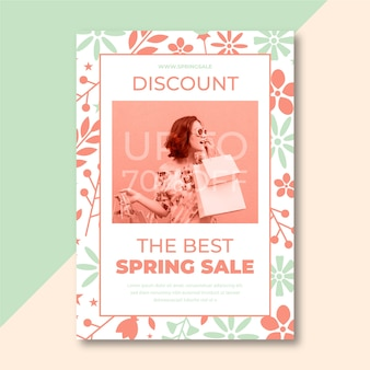 Frühlingsverkaufsplakat mit foto
