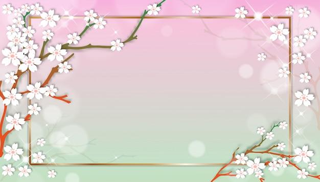 Frühlingsverkaufsschablone mit kirschblühenden niederlassungen mit goldenem rahmen auf grünem und rosa pastellhintergrund.