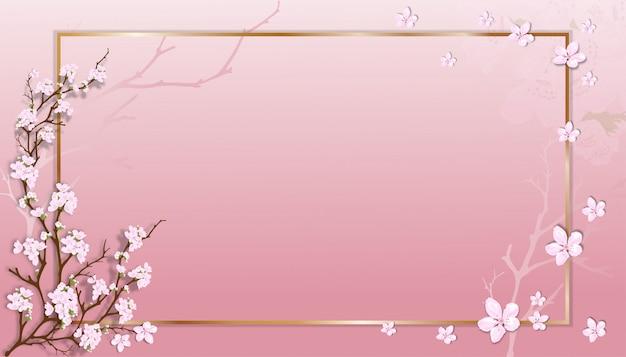Frühlingsverkaufsschablone mit kirschblütenzweigen mit goldenem rahmen auf rosa pastellhintergrund.