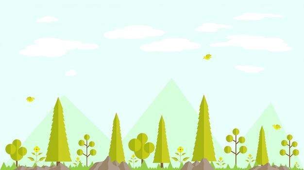 Frühlingswald flacher designhintergrund