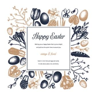 Frühlingsweinlese. osterhintergrund mit blühenden blumen, vogelfedern, eiern und blumendekorationen. frühlingsfarbene illustration. osterkarte, einladung oder fahnenschablone.