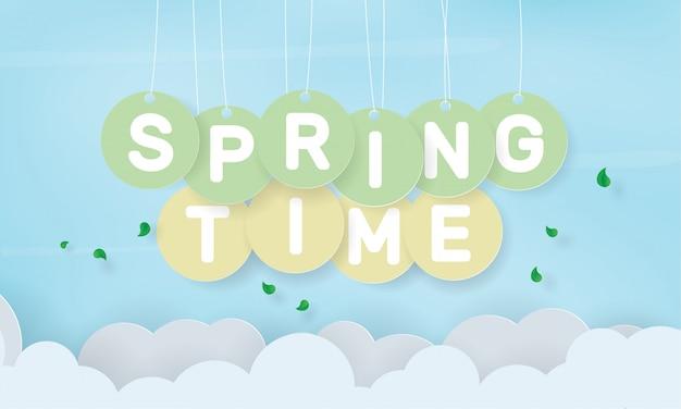 Frühlingswort, das am seil hängt, jahreszeitfeiertag Premium Vektoren