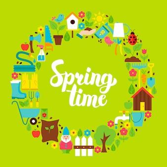 Frühlingszeit flacher kreis. satz von naturgartenobjekten mit handgeschriebener beschriftung.