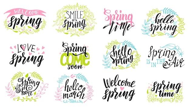 Frühlingszeit schriftzug typografie set