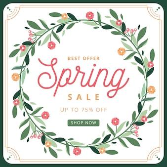Frühlingszeitverkaufs-kranz von blumen