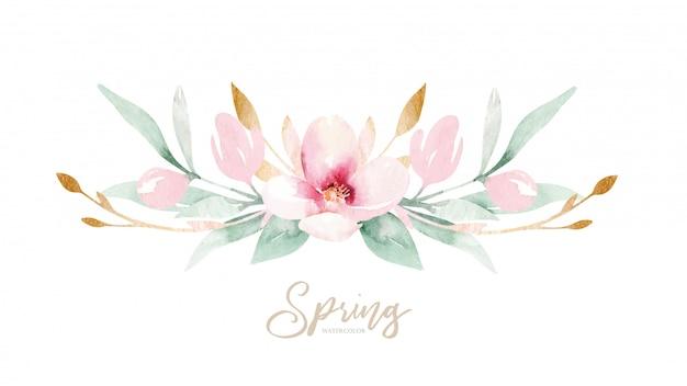 Frühlingszweig mit grünen blättern und blüten. aquarell