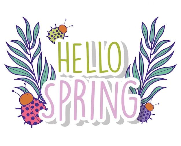 Frühlingszweige verlässt pflanzen und marienkäfer