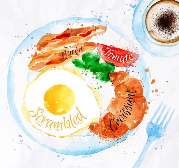 Frühstück aquarelle speck eier