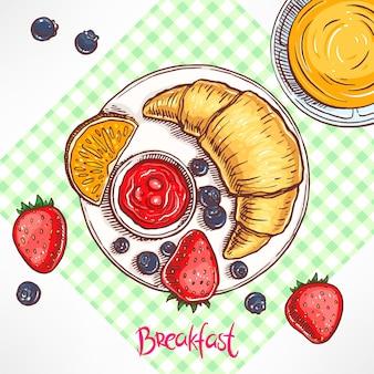 Frühstück. croissant, marmelade, blaubeeren und erdbeeren, saft. handgezeichnete illustration