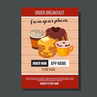 Frühstück flyer pfannkuchen kaffee vorlage