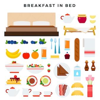 Frühstück in der gesetzten illustration des betts.