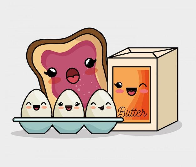 Frühstück kawaii eier butter und brot marmelade